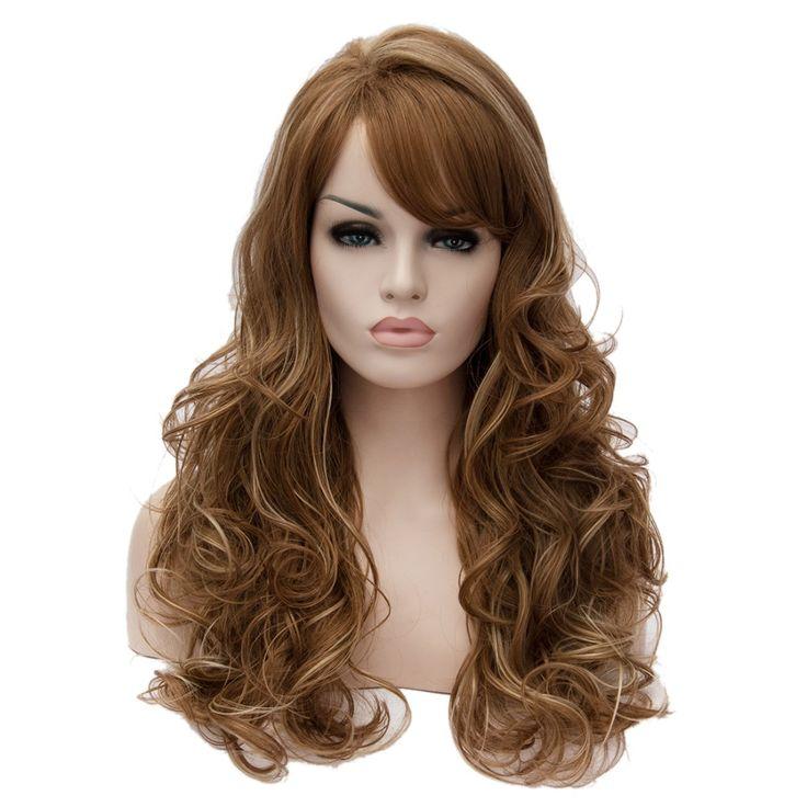 Элегантный женский коричневые моменты светлые волосы высокая температура волнистые длинные парики