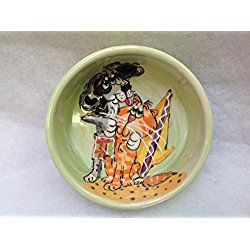 "Border Collie 8"" Ceramic Dog Bowl for Food or Water. Personalized at no Charge. Signed by Artist, Debby Carman."