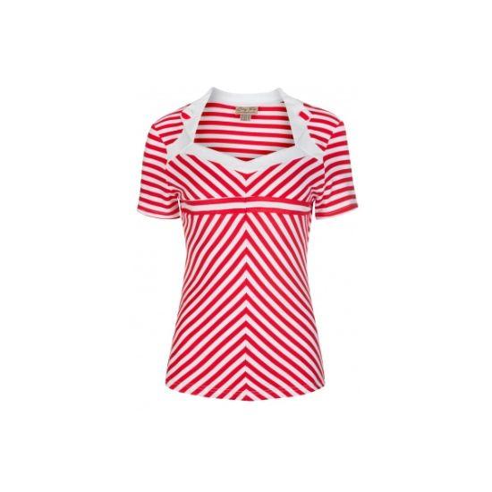 Retro top Lindy Bop Rosaline Red Stripe Nádherný top s červeno-bílým proužkem v námeřnickém stylu. Obléknete ho k sukni, džínám i kraťasům a stále budete TOP, ať budete kdekoli. Zajímavě řešený dekolt, zdobený malými klopami s knoflíky, krátký rukávek, skvěle protáhne siluetu. Příjemný, lehký, pružný materiál (65% polyester, 30% rayon, 5% elastan).