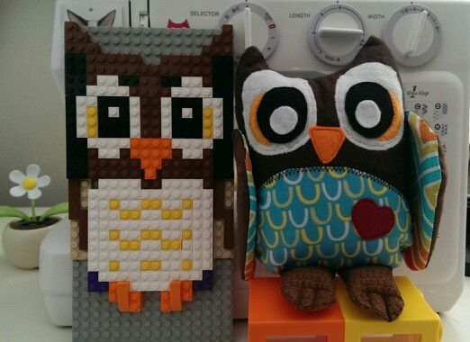A PikuHibu owl with a custom Lego owl by designer Aimee Chung. View more on Facebook.com/PikuHibu and 'Like' if you want to show your love of these cute hoots!
