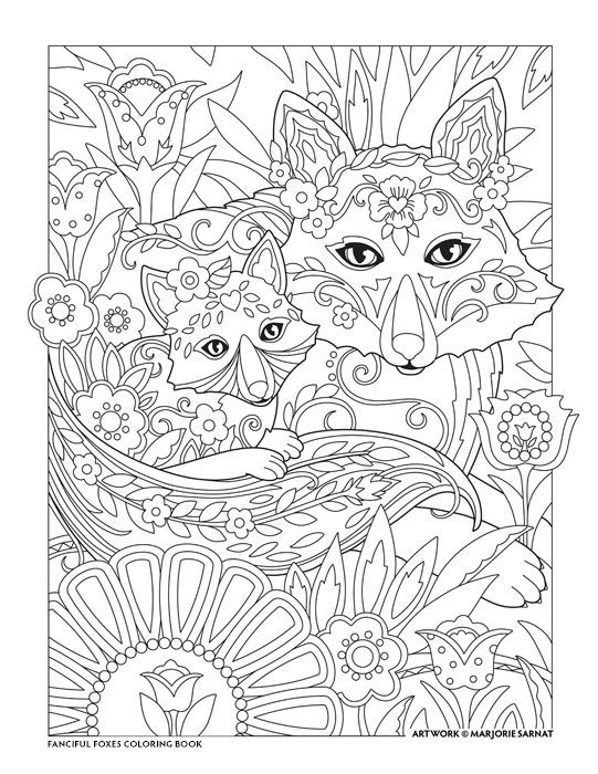 """Creative Haven Fanciful Foxes Coloring Book by Marjorie Sarnat, """"Mother and Child"""""""