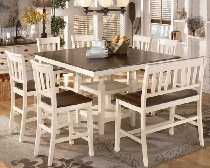 Pub Style Dining Room Tables | ... Tone White & Brown Counter Dining Set with Bench and Extension Table