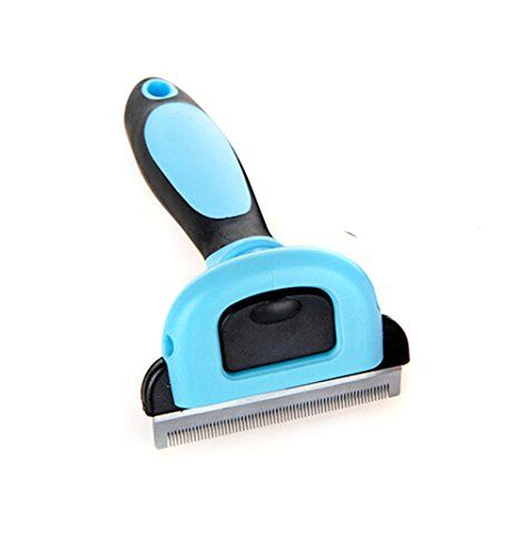 VWH Blue Dog Cat shedding Comb Massage Grooming Comb Tool with Stainless Steel Blade anti-slip Handle S -- For more information, visit image link.