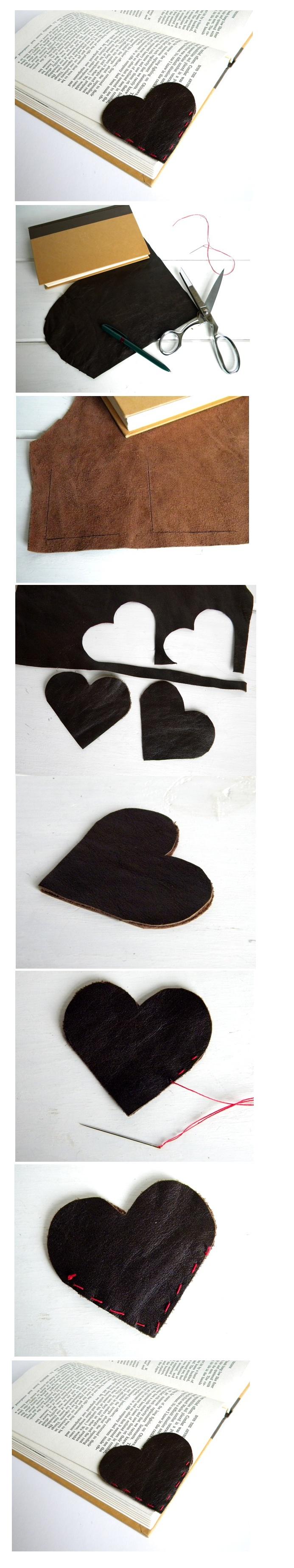 Leather Heart Bookmark DIY  http://belrossa.blogspot.be