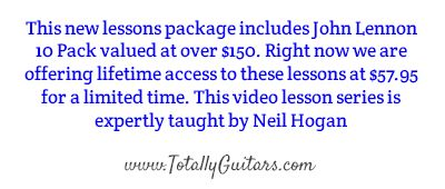 Online Guitar Lessons - www.totallyguitars.com/online-guitar-lessons/index.php?option=bands&band=-4028 -  John Lennon will go down in history as one of the greatest songwriters and performers in history, not just for his work with Paul McCartney, George Harrison, and Ringo Starr, but for his post-Beatles creativity as well.