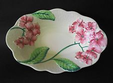 VINTAGE CARLTON WARE GREEN HYDRANGEA OVAL SERVING BOWL C1950s PINK FLOWERS
