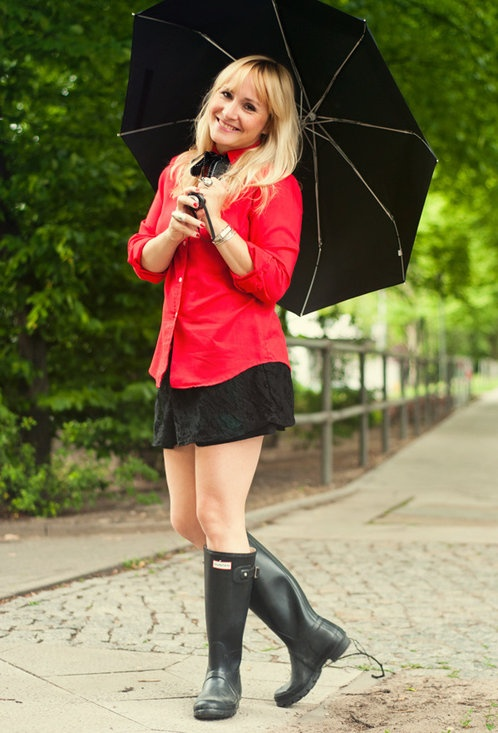 Rainy Days  , Romwe in Jewelry, Vintage in Shirt / Blouses, Bershka in Shorts, Hunter in Boots, Dkny in Watches