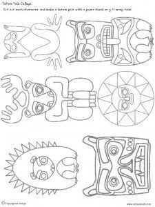 Designs to print out for totems. Just need paper towel tubes.
