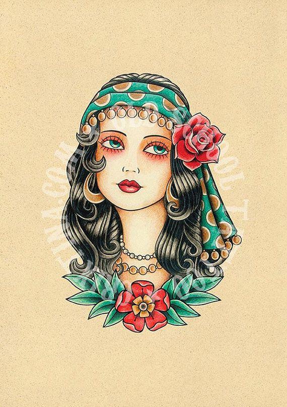 T01. Gypsy woman. Flash tattoo. Old school tattoo. Art tattoo. Digital Print, Instant Download. Printable Illustration.