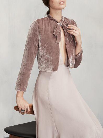 Cropped velvet with a neck tie, yes please. The Opera Bolero. https://www.thereformation.com/products/opera-bolero-matisse?utm_source=pinterest&utm_medium=organic&utm_campaign=PinterestOwnedPins: