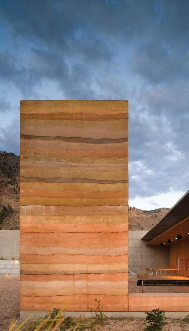 Rammed earth wall at the NK'Mip Desert Heritage Centre in Osoyoos, BC [Photo: Nic Lehoux, courtesy Dialog].