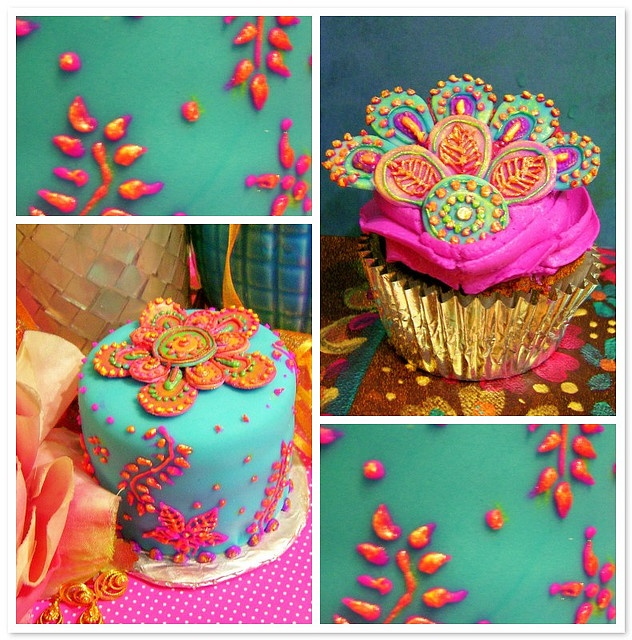 Pretty little henna style cakes