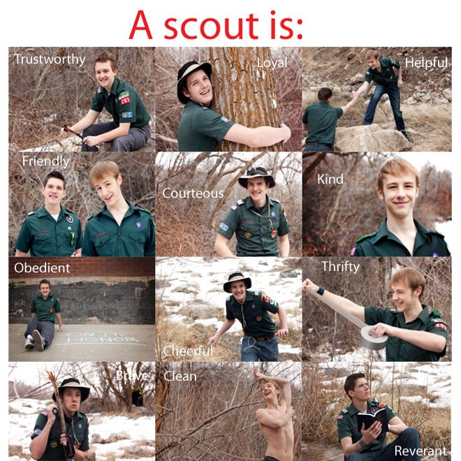 A picture to represent each part of the scout law!