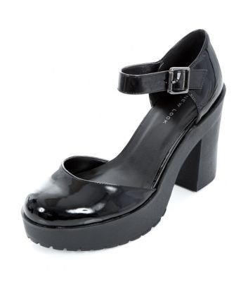 Black Patent 2 Part Chunky Ankle Strap Heels