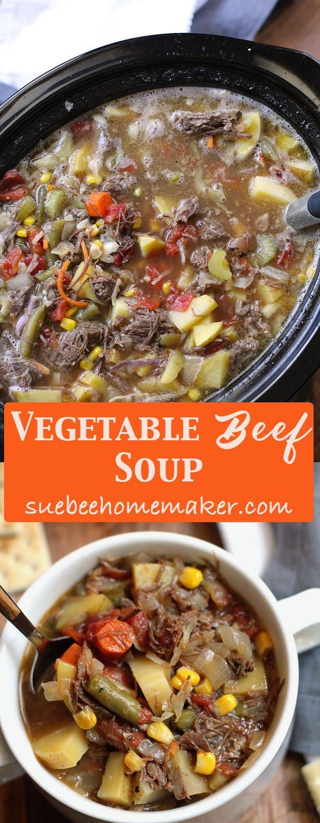 Vegetable Beef Soup is a stick-to-your-ribs kind of soup, combining a slow-cooked roast with tons of fresh veggies. Perfect for chilly nights! | suebeehomemaker.com