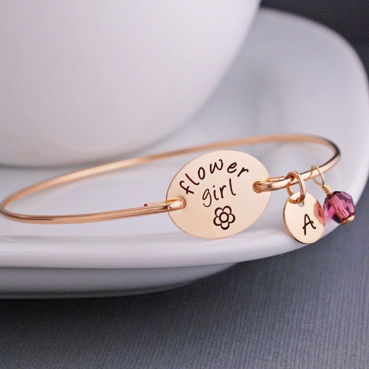 Flower Girl Bracelet, Gold Flower Girl Jewelry Gift Personalized – georgie designs personalized jewelry