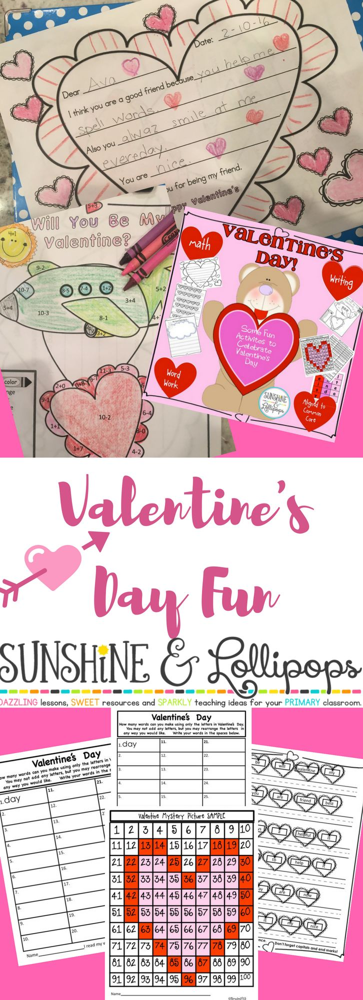 Happy Valentine's Day Fun is a great resource to use for stations, morning work the week of Valentine's Day, homework and in your homeschool. it is aligned with CC and includes word work, math and writing! Dollar DEAL...ENJOY!