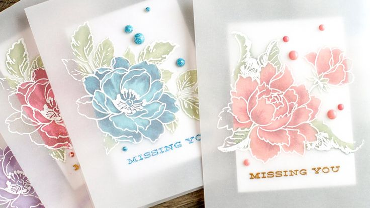 <3 these Jennifer McGuire handmade cards. She used parchment, Altenew beautiful day stamp and Altenew Peony Bouquet stamps. They are beautiful!
