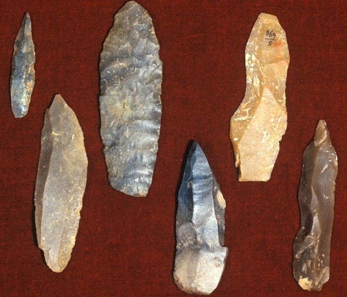Cro-Magnon blade tools in flint from various sites/periods in western France.