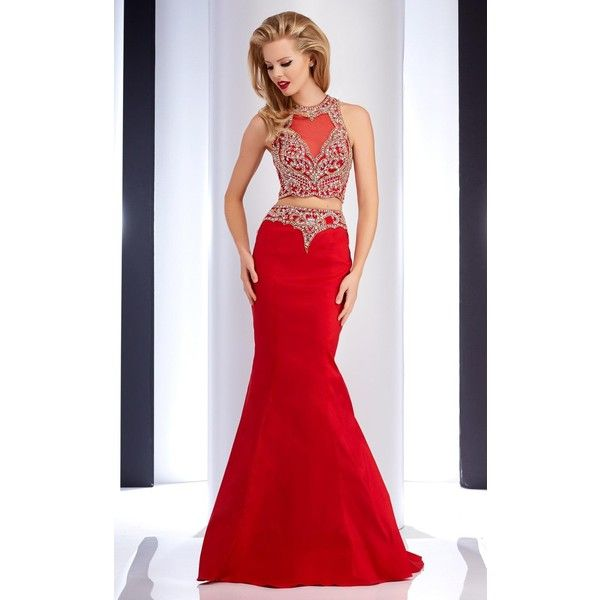 Clarisse 4717 Prom CutOut Dress Long High Neckline Sleeveless (351.935 CLP) ❤ liked on Polyvore featuring dresses, formal dresses, red, long formal dresses, red mermaid gown, mermaid prom gowns, long dresses and mermaid formal gowns