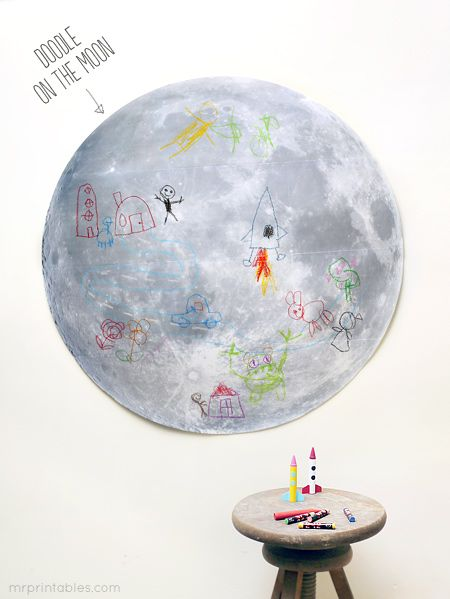 free printable doodle on the moon activity ~ space party theme
