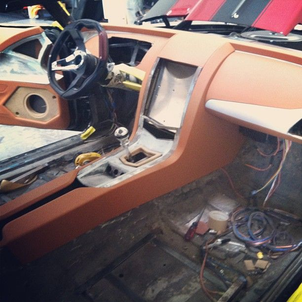 1969 camaro all custom interior and leather with an iPad as the source. 69 dash dashboard fiberglass