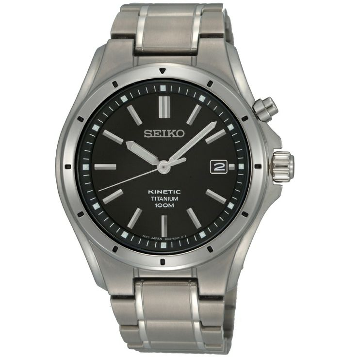 SKA493P1: Seiko kinetic titanium casual watch. Enjoy 3 years warranty. Seiko kinetic powered titanium watch with black dial and date display.