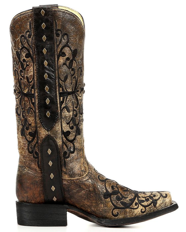 Corral Women's Square Toe Boot With Embroidery Black / Bronze - R1345