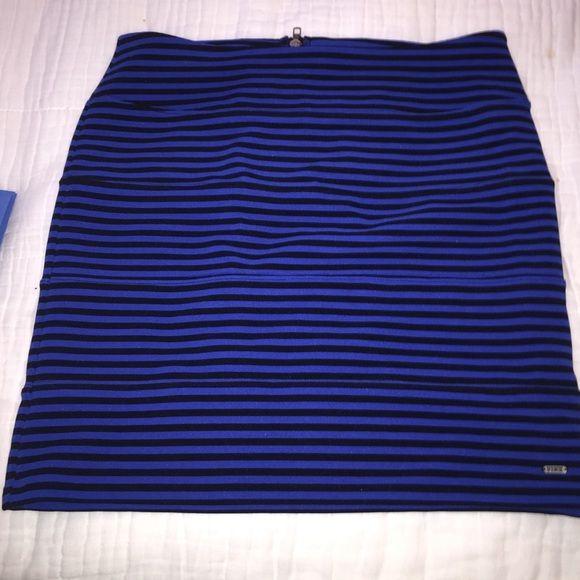 FINAL SALE Victoria Secret Pink bandage skirt Worn once! tight bandage skirt. electric blue and black striped PINK Victoria's Secret Skirts
