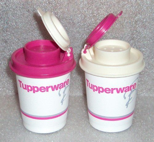 Tupperware Logo Souvenir Midgets Salt and Pepper Shakers by Tupperware. $24.99. Exclusive Limited Release Tupperware Brands Logo Item. Tupperware Lifetime Warranty against breaking, cracking, chipping, peeling with non-commercial use. (Artwork is not covered). Dishwasher safe. Midget shakers, 2 ounce capacity. Great size for keeping at work, take camping, RV use, etc. Small Midget salt and pepper shakers.  Tupperware Brands, Mexico, Logo is imprinted on each tiny...