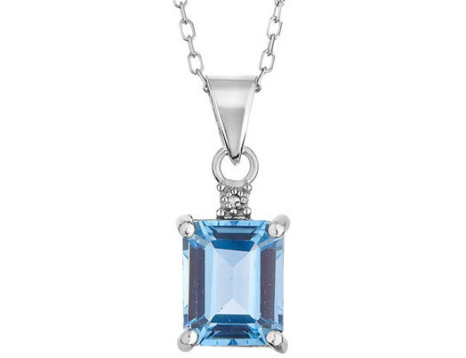 Blue Topaz Pendant with Diamond Accent 3.0 Carat (ctw) in Sterling Silver with Chain