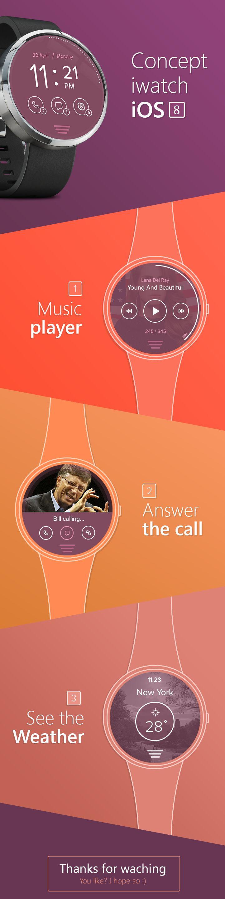 Concept iOS8 in iWatch #ios8 #iwatchcencept #ios8design