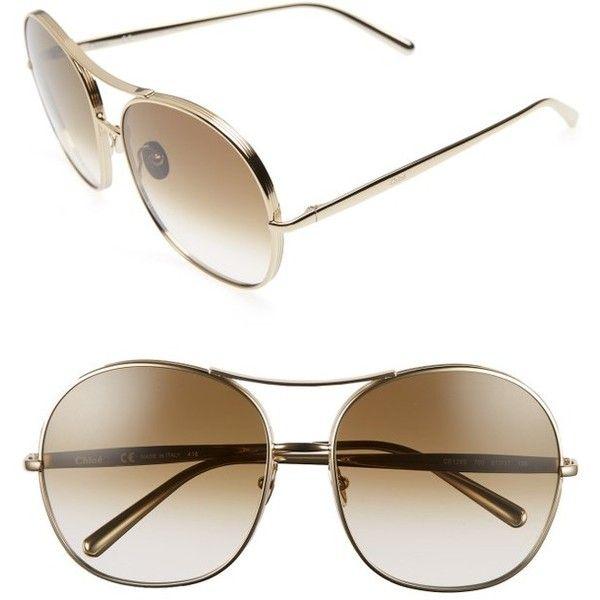 Women's Chloe 61Mm Oversize Aviator Sunglasses ($396) ❤ liked on Polyvore featuring accessories, eyewear, sunglasses, gradient lens sunglasses, chloe sunglasses, oversized aviator sunglasses, aviator style sunglasses and oversized eyewear