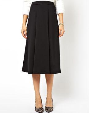 Image 4 ofASOS Midi Skirt In Scuba With Full Pleats