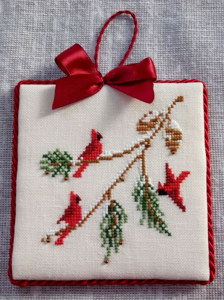 Finished Cross Stitch Beaded CHRISTMAS ORNAMENT Red Cardinals