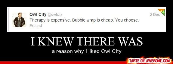 Therapy is expensive. Bubble wrap is cheap. You choose. owl city