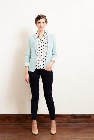 Mint blazer, polka dots, black jeans, and nude pumps. Perfect combination of classy and adorable. (: