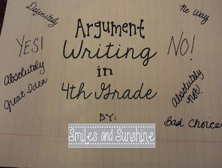 Argument Writing in 4th Grade- I love the anchor charts and how she used sticky notes to organize student-generated reasons for and against each argument listed on the anchor charts!