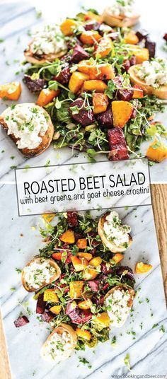 Roasted Beets and Beet Greens with Goat Cheese Crostini is the perfect appetizer, lunch or dinner salad! | http://www.cookingandbeer.com