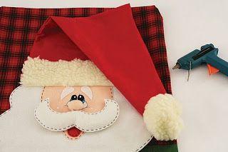 cubre silla  patron santa  ***Ideas de Manualidades***: cubre botella y cubre silla navideño