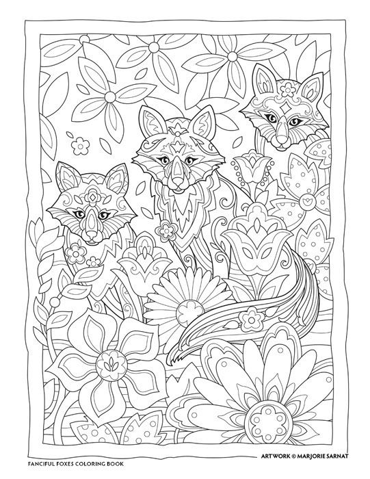 """Creative Haven Fanciful Foxes Coloring Book by Marjorie Sarnat, """"Three Fox Friends"""""""
