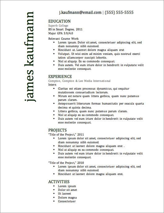 12 Resume Templates for Microsoft Word Free Download Pinterest