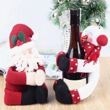 2 Компл. Крышку Бутылки Красного Вина Сумки Обнять Санта-Клауса Снеговик Обеденный Стол Украшения Дома Рождественская Вечеринка Декоры(China (Mainland))