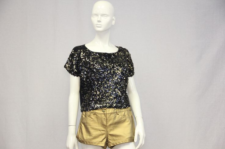 Get Down Get Down Gold and Black Sequin Top