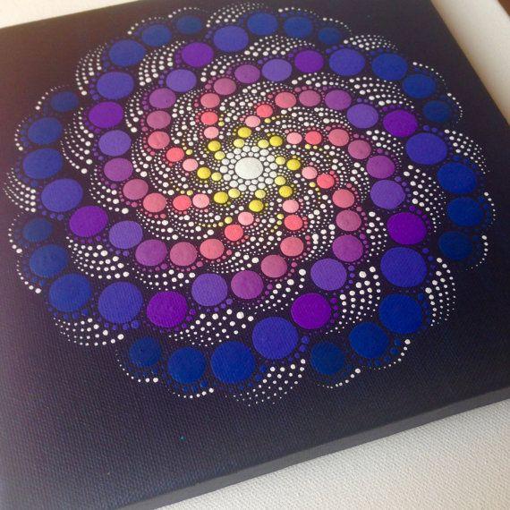 Original Dotart Purple Rain Mandala Painting on Canvas, 20x20cm
