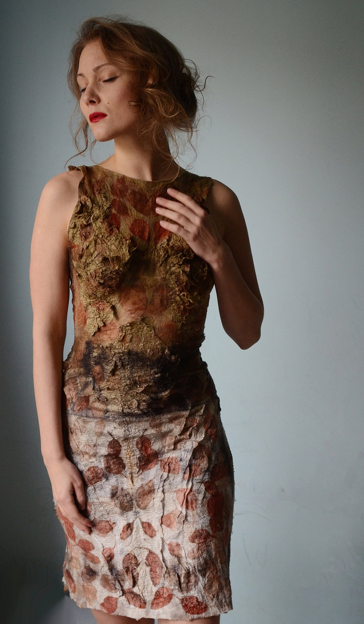 Eco fashion dresses Nuno felted and eco printed dress from natural silk and wool dyed with plants OOAK. $699.00, via Etsy.