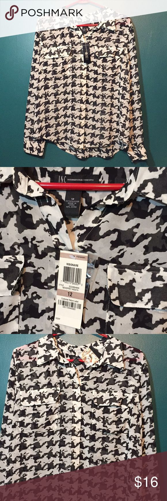 NWT Sheer Blouse INC NWT INC International Concepts Sheer Blouse. Black and white button up. Size 12. INC International Concepts Tops Blouses