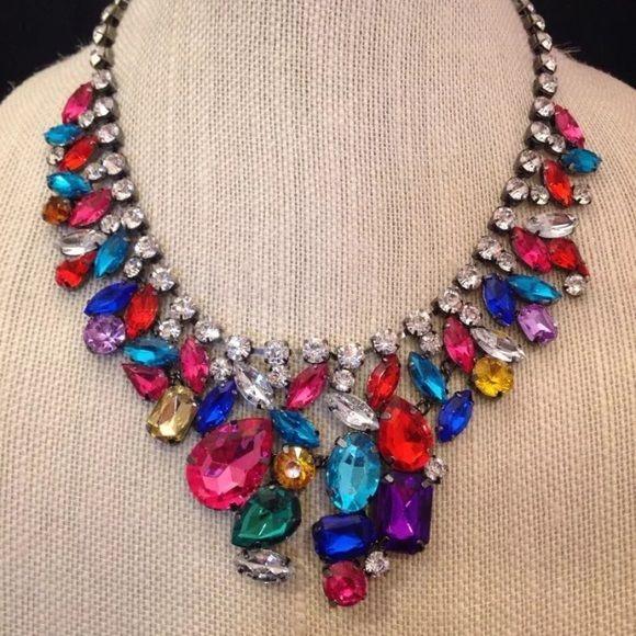 Susan Graver Jewel Tone Statement Necklace Gorgeous, lightweight, vibrant colors, gunmetal tone! Susan Graver Jewelry Necklaces