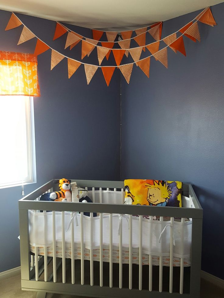 Calvin and Hobbes nursery with pennant banner