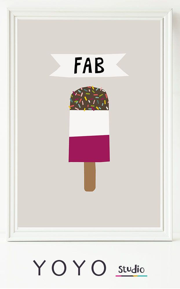 Fab Ice lolly print. Do you remember these brilliant ice creams? retro printable art.